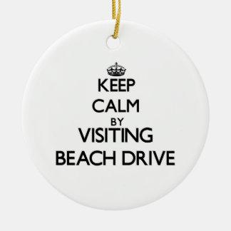 Keep calm by visiting Beach Drive Florida Christmas Ornament