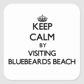 Keep calm by visiting Bluebeards Beach Virgin Isla Square Sticker