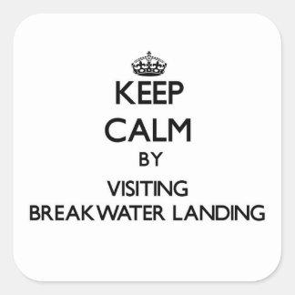 Keep calm by visiting Breakwater Landing Massachus Square Sticker