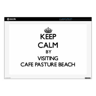 """Keep calm by visiting Cafe Pasture Beach Rhode Isl 17"""" Laptop Decals"""