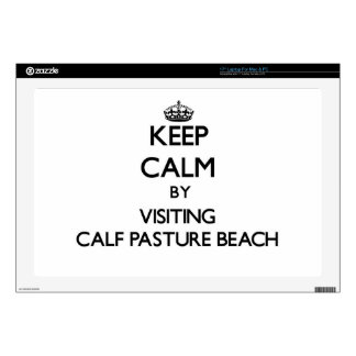 Keep calm by visiting Calf Pasture Beach Connectic Laptop Decal