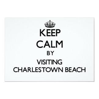 Keep calm by visiting Charlestown Beach Rhode Isla 5x7 Paper Invitation Card
