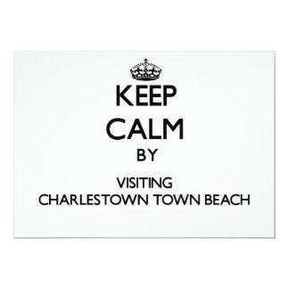 Keep calm by visiting Charlestown Town Beach Rhode 5x7 Paper Invitation Card