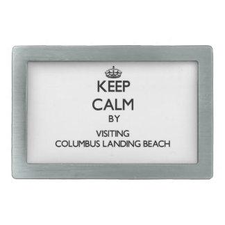Keep calm by visiting Columbus Landing Beach Virgi Rectangular Belt Buckle