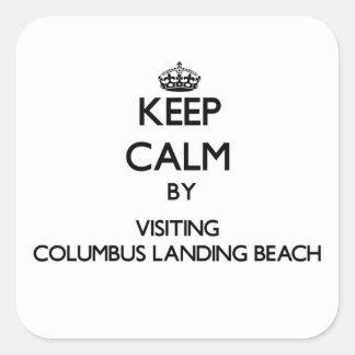 Keep calm by visiting Columbus Landing Beach Virgi Sticker