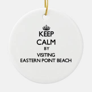 Keep calm by visiting Eastern Point Beach Connecti Double-Sided Ceramic Round Christmas Ornament