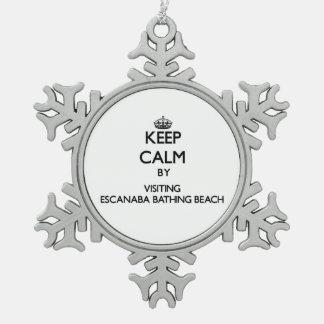 Keep calm by visiting Escanaba Bathing Beach Michi Snowflake Pewter Christmas Ornament