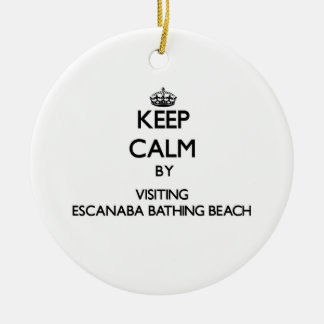 Keep calm by visiting Escanaba Bathing Beach Michi Double-Sided Ceramic Round Christmas Ornament