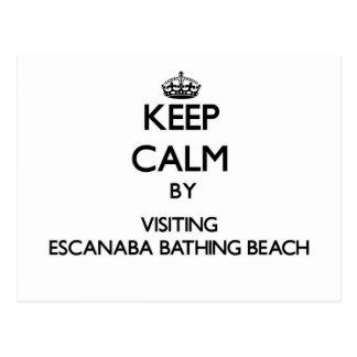 Keep calm by visiting Escanaba Bathing Beach Michi Postcard