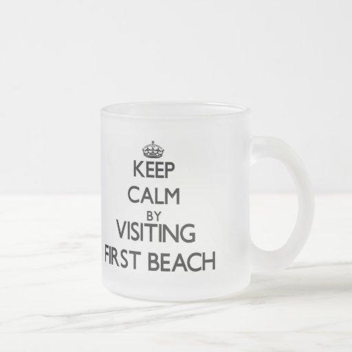 Keep calm by visiting First Beach Guam Coffee Mugs
