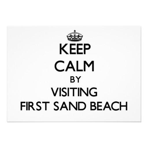 Keep calm by visiting First Sand Beach Michigan Custom Announcements