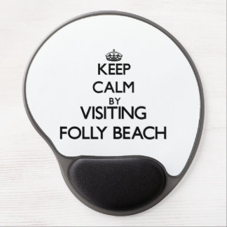 Keep calm by visiting Folly Beach South Carolina Gel Mouse Mats