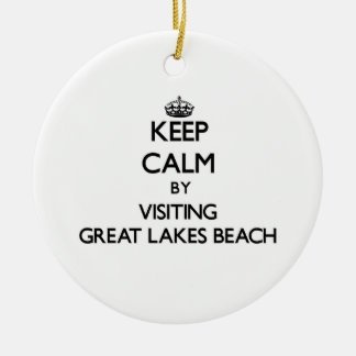 Keep calm by visiting Great Lakes Beach Michigan Double-Sided Ceramic Round Christmas Ornament
