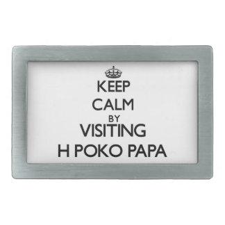 Keep calm by visiting H-Poko Papa Hawaii Rectangular Belt Buckle