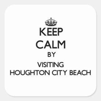 Keep calm by visiting Houghton City Beach Michigan Sticker