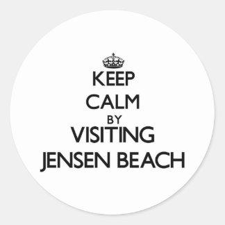 Keep calm by visiting Jensen Beach Florida Round Stickers