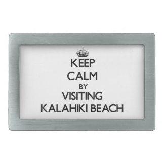 Keep calm by visiting Kalahiki Beach Hawaii Belt Buckles