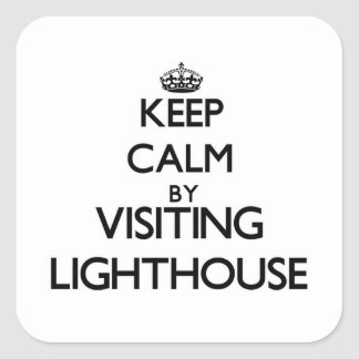 Keep calm by visiting Lighthouse Massachusetts Square Sticker