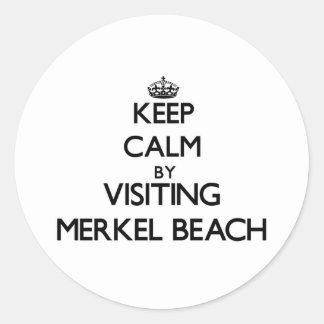 Keep calm by visiting Merkel Beach Massachusetts Classic Round Sticker