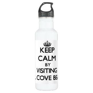 Keep calm by visiting Mill Cove Beach Rhode Island 24oz Water Bottle