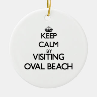 Keep calm by visiting Oval Beach Michigan Christmas Ornaments