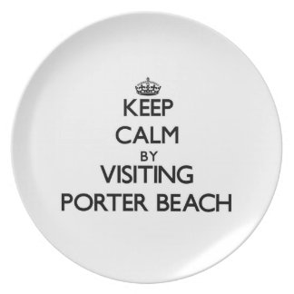 Keep calm by visiting Porter Beach Indiana Dinner Plate