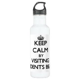 Keep calm by visiting Residents Beach Massachusett 24oz Water Bottle