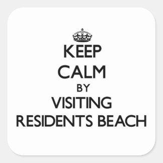 Keep calm by visiting Residents Beach Massachusett Square Sticker