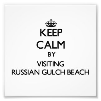 Keep calm by visiting Russian Gulch Beach Californ Photographic Print