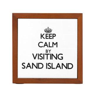 Keep calm by visiting Sand Island Hawaii Pencil/Pen Holder