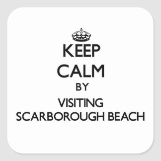 Keep calm by visiting Scarborough Beach Maine Square Stickers