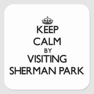 Keep calm by visiting Sherman Park Michigan Square Stickers