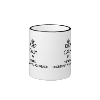 Keep calm by visiting Shoreham Village Beach New Y Ringer Coffee Mug