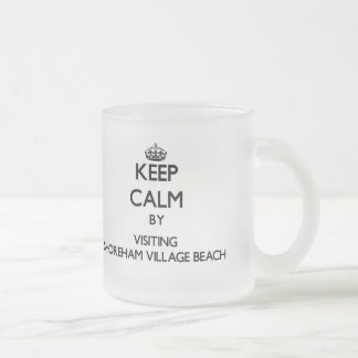 Keep calm by visiting Shoreham Village Beach New Y 10 Oz Frosted Glass Coffee Mug