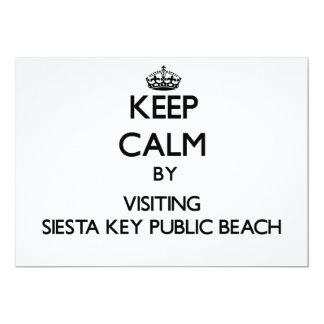 "Keep calm by visiting Siesta Key Public Beach Flor 5"" X 7"" Invitation Card"