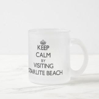 Keep calm by visiting Starlite Beach Michigan 10 Oz Frosted Glass Coffee Mug