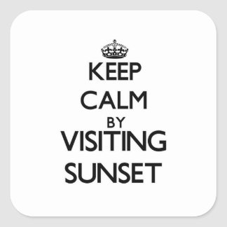 Keep calm by visiting Sunset Massachusetts Square Sticker