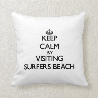 Keep calm by visiting Surfers Beach California Throw Pillow