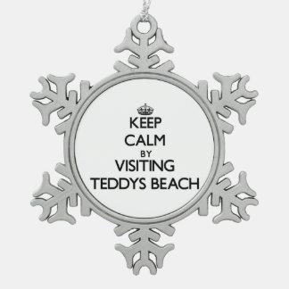 Keep calm by visiting Teddys Beach Rhode Island Ornament