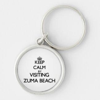 Keep calm by visiting Zuma Beach California Keychains