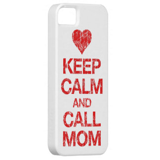 Keep Calm Call Mom Heart iPhone 5 Case Distressed