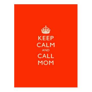 Keep Calm & Call Mom Postcard