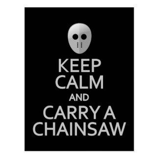 Keep Calm & Carry a Chainsaw postcard, customize Postcard