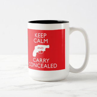 Keep Calm Carry Concealed Big Red 2-Tone Mug