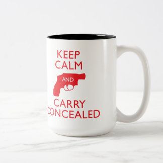 Keep Calm Carry Concealed Big Red 2-Tone Mug 2