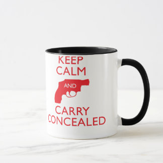 Keep Calm Carry Concealed Red Ringer Mug 2