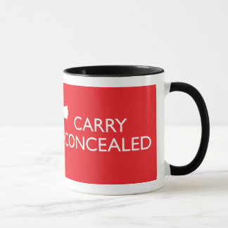 Keep Calm Carry Concealed Red Wrap Ringer Mug