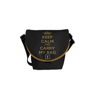 Keep Calm Carry my Bag Gold Mini Zero Messenger Courier Bags