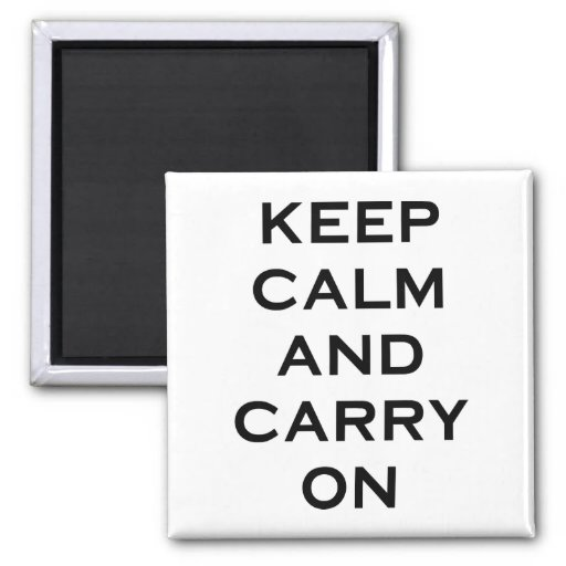 Keep Calm Carry On 2 Inch Square Magnet