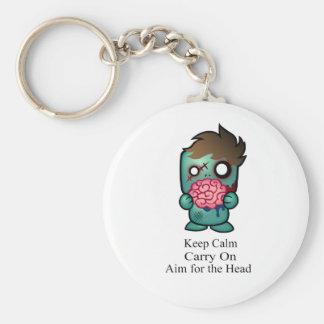 Keep Calm, Carry On, Aim for the Head Basic Round Button Keychain